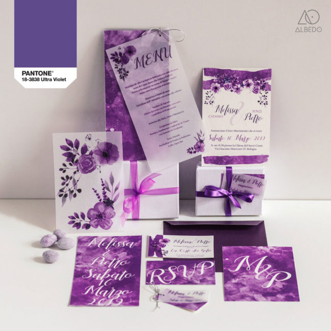wedding stationery ultra violet