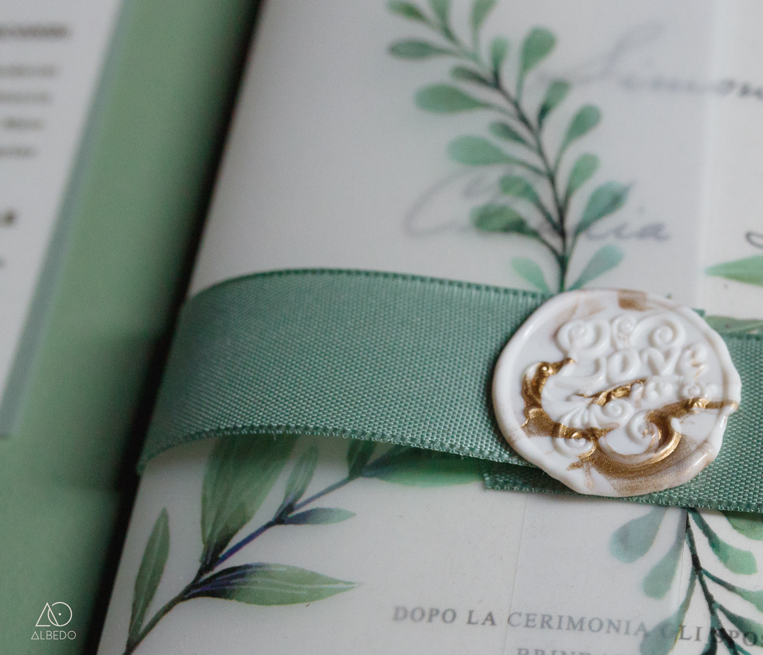 partecipazione di nozze botanic green albedo graphic