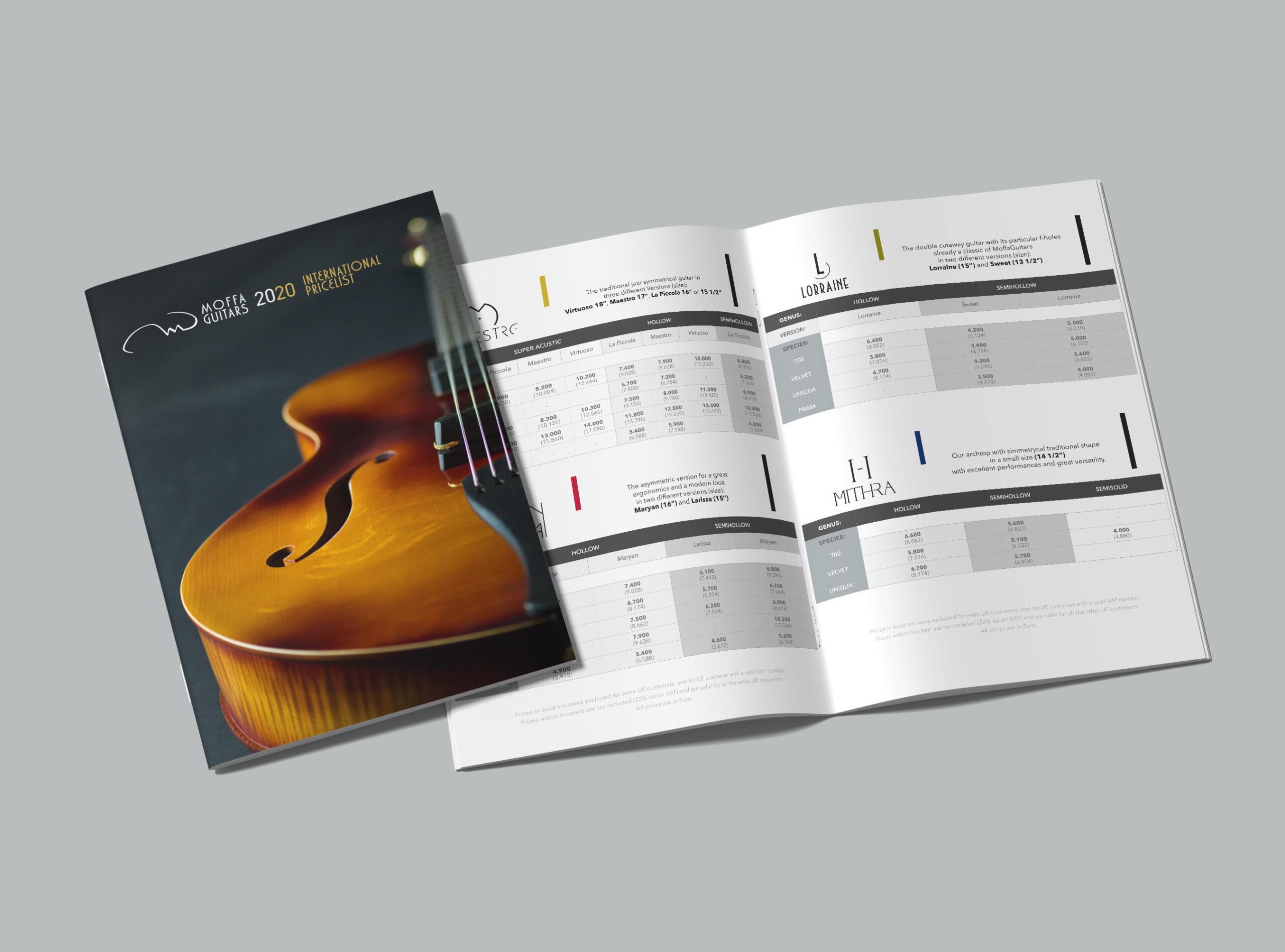 albedo realizzazione brand-identity moffa guitars pricelist