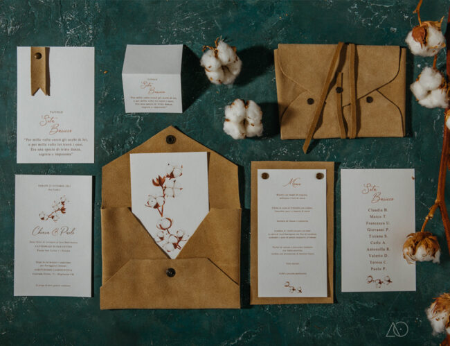 albedo partecipazione di matrimonio cotone coordinato